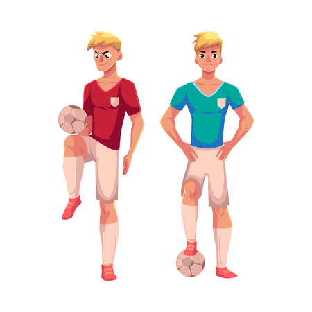 Handsome blond soccer player standing with football ball, cartoon vector illustration isolated on white background. Full length portrait of professional soccer player kicking it up with knee Illustration