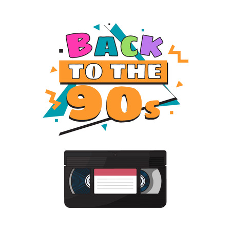 Video cassette, videotape from 90s, sketch vector illustration isolated on white background. Front view of hand drawn video tape, videocassette, VHS with empty label sticker, retro object from 90s Vector Illustration