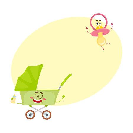 Lustiger Babywarenkorb, Spaziergänger, Buggy und Attrappe, Friedensstiftercharakter, neugeborenes Zubehör, Karikaturvektorillustration mit Raum für Text. Kinderwagen, Kinderwagen und Dummy, Schnuller Zeichen Standard-Bild - 79191872