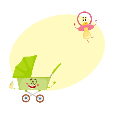 Funny baby cart, stroller, buggy and dummy, pacifier character, newborn accessories, cartoon vector illustration with space for text. Baby cart, stroller and dummy, pacifier characters Illustration