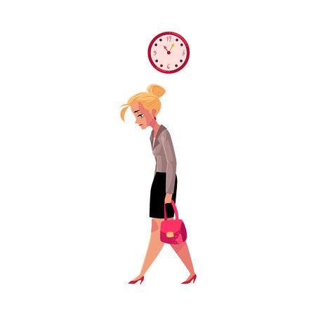 Jonge vermoeide onderneemster, die na het werk naar huis gaat, klok die tijd, beeldverhaal vectordieillustratie toont op witte achtergrond wordt geïsoleerd. Zakenvrouw, zakenvrouw verdrietig, moe, naar huis gaan van het werk laat Stock Illustratie