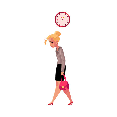 Young tired businesswoman, going home after work, clock showing time, cartoon vector illustration isolated on white background. Businesswoman, business woman sad, tired, going home from work late