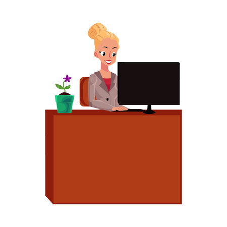 Young pretty blond businesswoman, secretary, working on computer at office table, cartoon vector illustration isolated on white background. Businesswoman, secretary, office manager working on computer