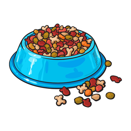 Blue shiny plastic bowl filled with dry pelleted food for pet, cat, dog, sketch vector illustration isolated on white background. Hand drawn bowl, plate filled with dry pet, dog, cat food Иллюстрация