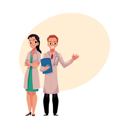 Male and female doctors in white medical coats, woman with folded arms, man holding folder, cartoon vector illustration with space for text. Full length portrait of two doctors