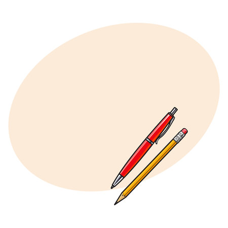 rollerball: Simple hand drawn ball point pen and pencil, office supplies, sketch style vector illustration with space for text. Realistic hand drawing of red school pen and yellow graphite pencil