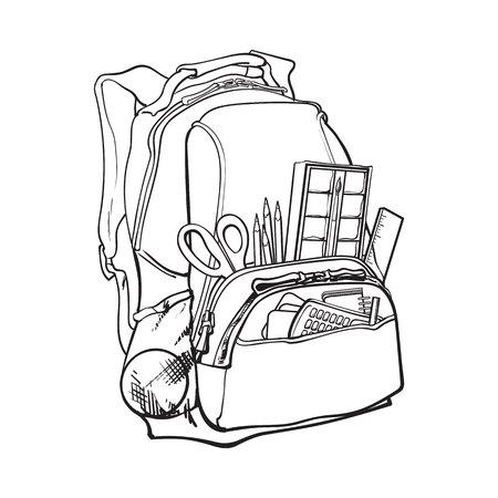 バックパックには学校アイテム、消耗品、白い背景に分離された黒と白のスケッチ スタイル ベクトル図が満載。スクール バッグ、バックパックの