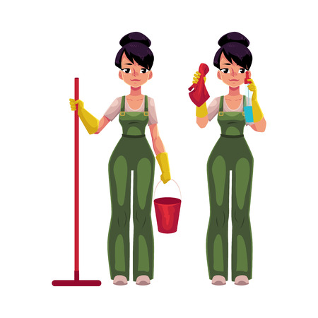 Cleaning service girl in overalls standing with mop and bucket, washing windows, cartoon vector illustration isolated on white background. Cleaning service girl holding mop and bucket, washing windows Illustration