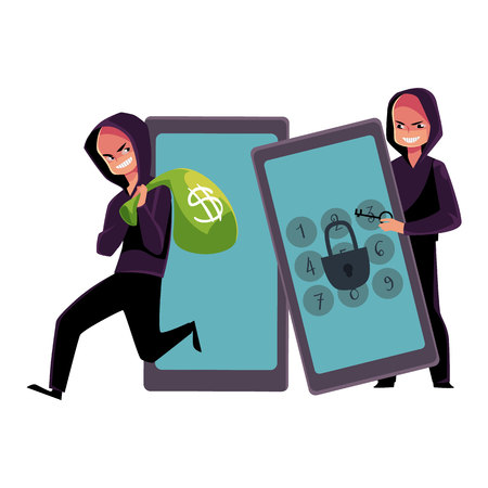 Hacker in black hoodie cracking smartphone, breaking pin code, stealing money, cartoon vector illustration isolated on white background. Smartphone hacking, breaking, cracking, financial fraud
