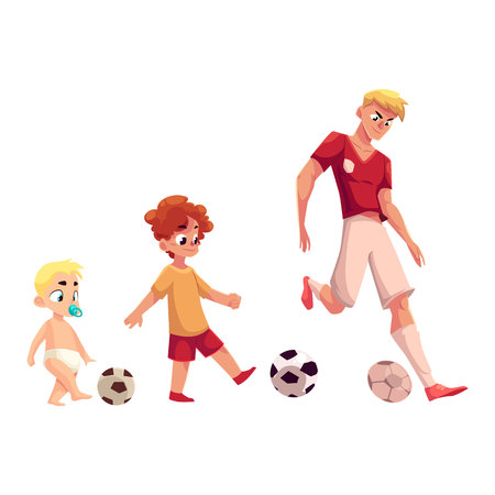 Baby, kid and adult soccer player playing football, sport for all ages, cartoon vector illustration isolated on white background. Professional soccer player, little boy and baby playing football