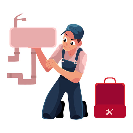 Plumbing specialist with wrench and toolbox repairing kitchen sink, bathroom wash basin, cartoon vector illustration isolated on white background. Plumber, plumbing specialist fixing kitchen sink Illustration