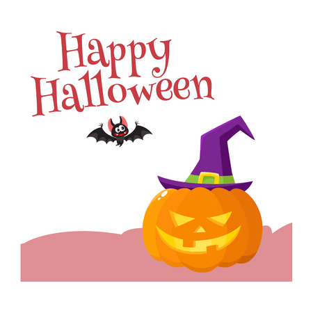 Happy Halloween greeting card, poster, banner design with bat and with orange pumpkin in pointed witch hat, cartoon vector illustration isolated on white background. Halloween greeting card