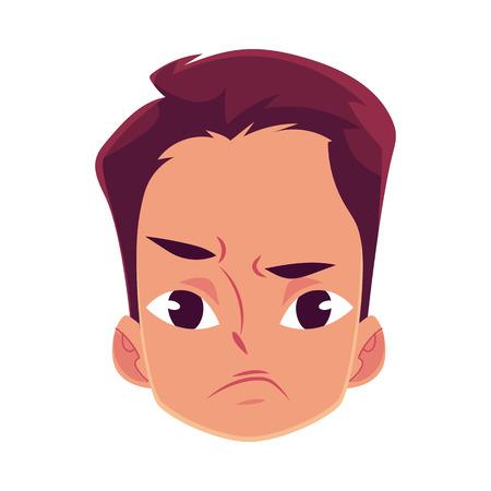 若い男の顔、怒っている顔の表情、漫画のベクトル図  イラスト・ベクター素材