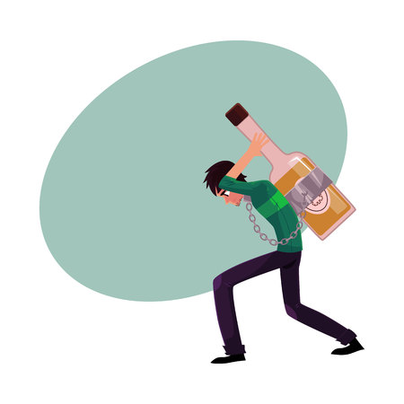 Young man chained to huge bottle of liquor, carrying it on his back, alcohol dependence concept, cartoon vector illustration