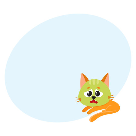 Little red cat, kitten feeling sick to stomach, green from nausea, lying, looking helpless, cartoon vector illustration with space for text. Sick little cat having nausea, foodborne disease Illustration