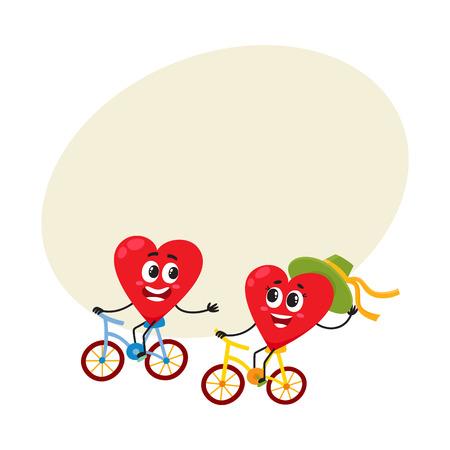 二つの心が一緒にサイクリング、愛の概念のいくつかは、自転車に乗って漫画本文のスペースのベクトル図です。面白いカップル楽しんで心の感情
