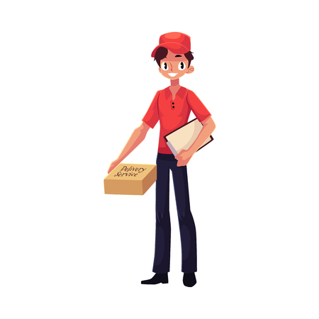deliverer: Young courier, delivery service worker standing with clipboard and parcel box, cartoon vector illustration isolated on white background. Full length portrait of young delivery service man Stock Photo