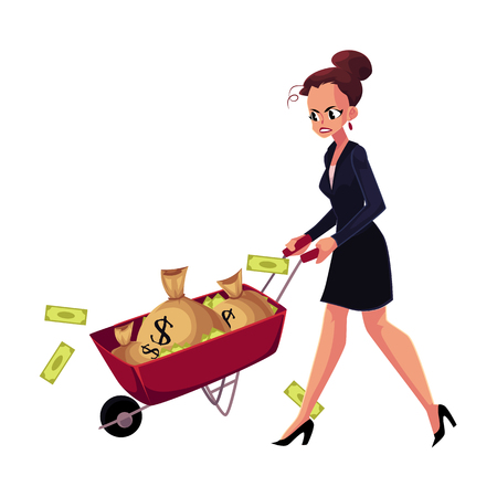 Sad, frustrated woman, girl, businesswoman pushing wheelbarrow with money bags, cartoon vector illustration isolated on white background. Businesswoman, woman, girl pushing wheelbarrow with money bags Фото со стока