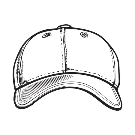 unlabelled: Clean, unlabelled black and white textile baseball cap, sketch style vector illustration isolated on white background. Realistic isolated hand drawing of baseball cap, front view