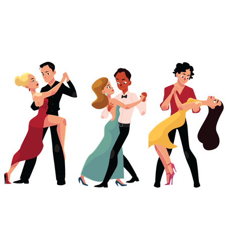 Three couples of professional ballroom dancers dancing, looking at each other, cartoon vector illustration isolated on white background. Three ballroom dance couples dancing tango, waltz, rumba. Illustration