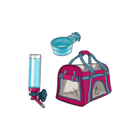 Pet travel carrier bag, feeding bowl and refillable drinker, sketch vector illustration isolated on white background. Hand drawn pet carrier bag, bowl and drinker for pet transportation Stok Fotoğraf - 79645953