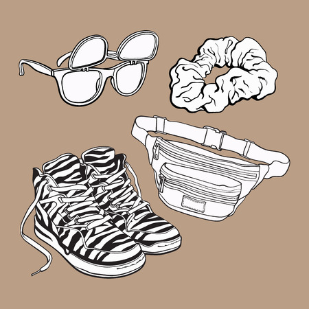 scrunchie: Retro pop culture items from 90s - scrunchie, sunglasses with removable lenses, zebra sneakers and waist pack, sketch illustration isolated on brown background.
