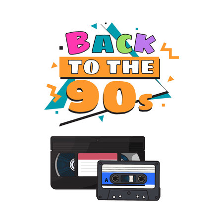 Video and audio cassettes, VHS and audiotape from 90s, sketch vector illustration isolated on white background. Front view of video and audio tape, cassette with empty label sticker from 90s