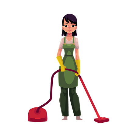 Cleaning service girl, charwoman in overalls standing with vacuum cleaner, cartoon vector illustration isolated on white background. Cleaning service girl wearing uniform, using vacuum cleaner