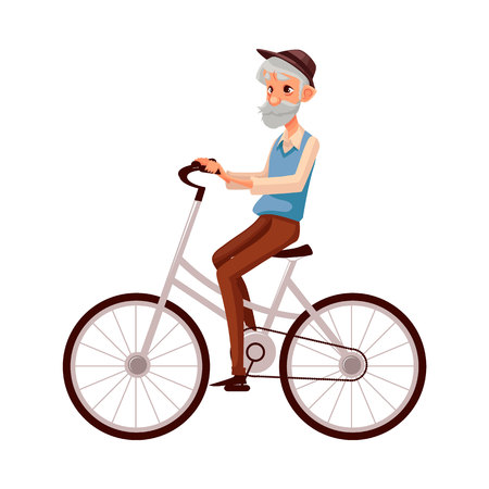 Old, elder bearded man in vest and hat riding a bicycle, cycling, cartoon vector illustration isolated on white background. Full length, side view portrait of retired man riding a bicycle, cycling