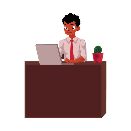 Black, African American businessman working on computer, sitting at office desk, cartoon vector illustration isolated on white background. Black businessman, worker, employee working in office Иллюстрация
