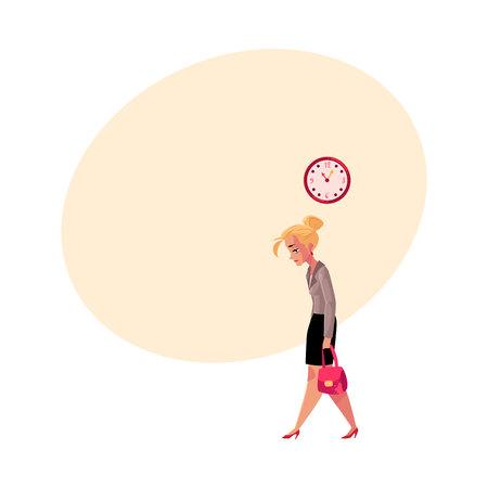 Jonge vermoeide onderneemster, die na het werk naar huis gaat, klok die tijd, beeldverhaal vectorillustratie met ruimte voor tekst toont. Zakenvrouw, zakenvrouw verdrietig, moe, naar huis gaan van het werk laat Stock Illustratie