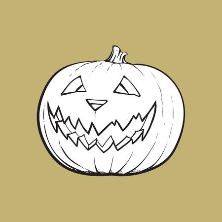 ジャック o ランタン、熟したカボチャ彫刻の怖い顔、伝統的なハロウィーンのシンボル、スケッチはベクトル イラスト背景に分離です。手描きハロ  イラスト・ベクター素材