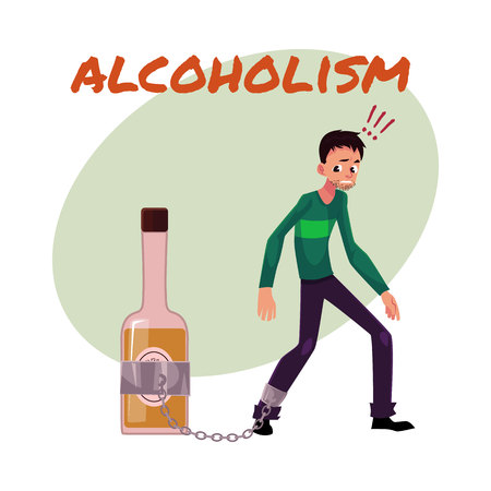 Manifesto dell'alcool, modello dell'insegna con l'uomo che sta con la gamba incatenata alla bottiglia di liquore, dipendenza dell'alcool, illustrazione di vettore del fumetto isolata su fondo bianco.