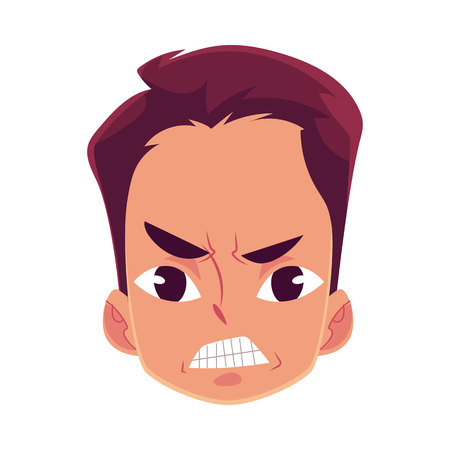 Young man face, angry facial expression, cartoon vector illustrations isolated on white background. Handsome boy frowns, feeling distresses, frustrated, sullen, upset. Angry face expression Ilustrace