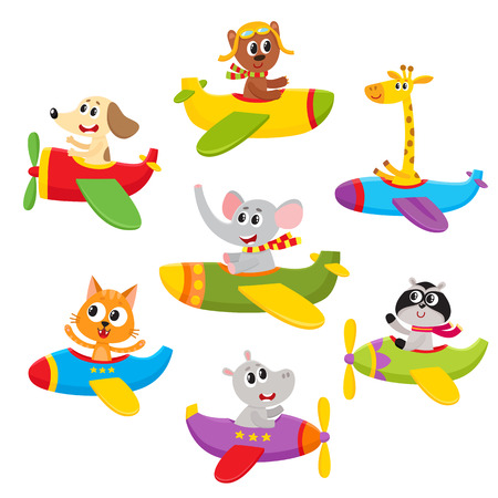 귀여운 작은 곰, 개, 고양이, 코끼리, 기린, 너구리, 뚱 땡 동물 비행 비행기, 흰색 배경에 고립 된 만화 벡터 일러스트 레이 션. 비행기에서 날아 다니는