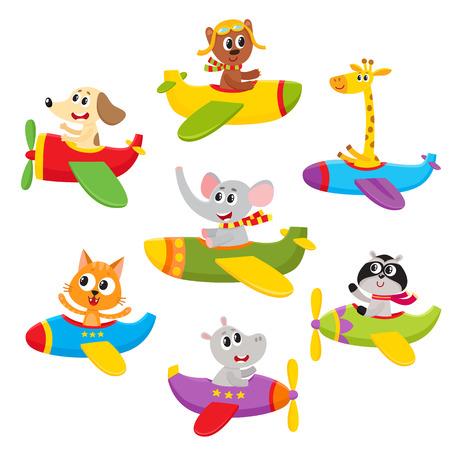 Cute little bear, dog, cat, elephant, giraffe, raccoon, hippo animals flying on airplanes, cartoon vector illustration isolated on a white background. Little baby animal characters flying on airplanes