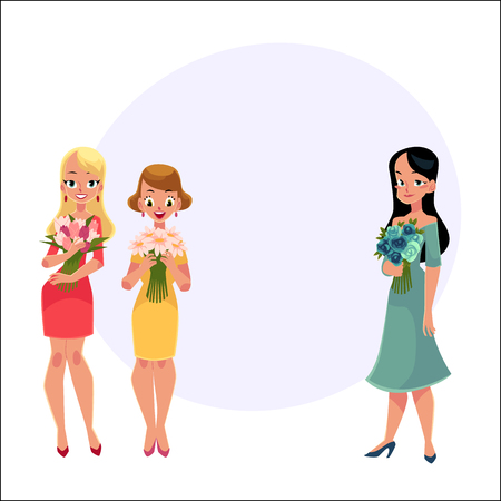 Three beautiful women, girls, friends standing, holding bunches of flowers, cartoon vector illustration with space for text. Happy smiling girls, women, friends holding bunches of flowers Ilustração