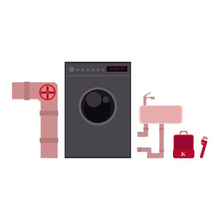 Herramientas de fontanero, objetos de plomería - tubería de alcantarillado, cuenco de lavado, lavadora, ilustración vectorial de dibujos animados aislado sobre fondo blanco. Caja de herramientas, llave inglesa, fregadero, lavadora, alcantarillado - objetos de plomería Foto de archivo - 79733818