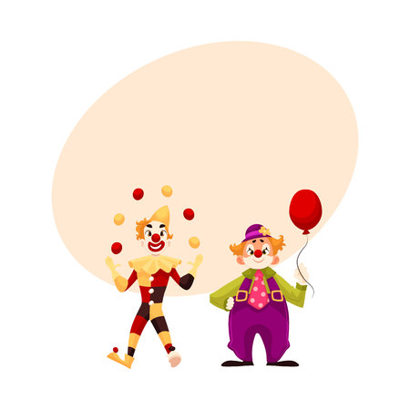 Two cheerful clown on a holiday, vector cartoon comic illustration with space for text. funny cartoon clown shows tricks, funny comic clown holding balloon, funny faces and cheerful mood