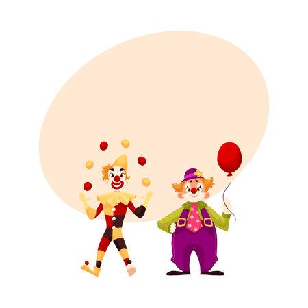 Twee vrolijke clown op een vakantie, vectorbeeldverhaal grappige illustratie met ruimte voor tekst. grappige cartoon clown toont trucs, grappige komische clown houden ballon, grappige gezichten en vrolijke stemming