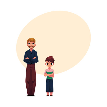 Man and boy, father and son standing with frowned, angry face expression after quarrel, cartoon vector illustration with space for text. Frowning, irritated father and son standing with angry faces