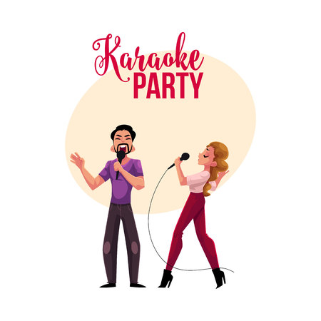 Karaoke party, contest banner, poster, postcard design with couple of singers, cartoon vector illustration on white background. Karaoke party banner with man and woma singing together Illustration