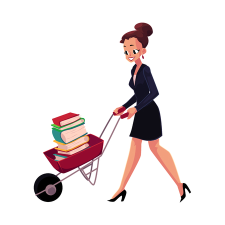 Happy woman, girl, businesswoman pushing wheelbarrow full of books, cartoon vector illustration isolated on white background. Businesswoman, woman, girl pushing barrow with books, studying concept Фото со стока