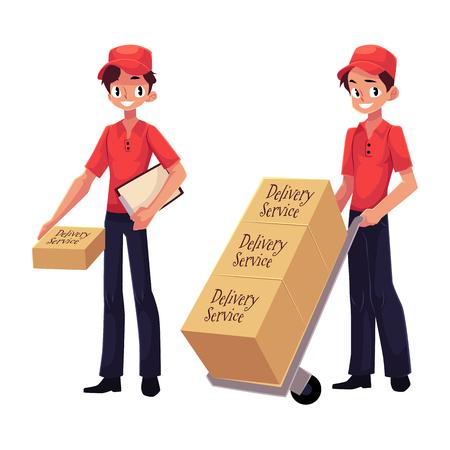 Koerier, leveringsdienst werknemer pakket, duwen dolly, handkar met dozen, cartoon vectorillustratie geïsoleerd op een witte achtergrond. Volledig lengteportret van de jonge mens van de leveringsdienst