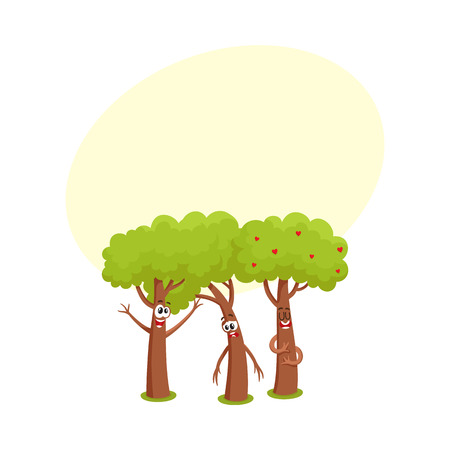 Three funny comic tree characters talking, sad, hussing,garden, love, friendship concept, cartoon vector illustration with space for text. Set of three funny tree characters, mascots