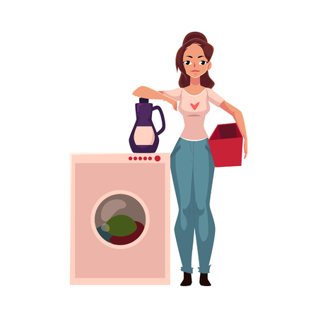 maching: Young woman, housewife standing next to washing machine, washing clothes, cartoon vector illustration isolated on white background.