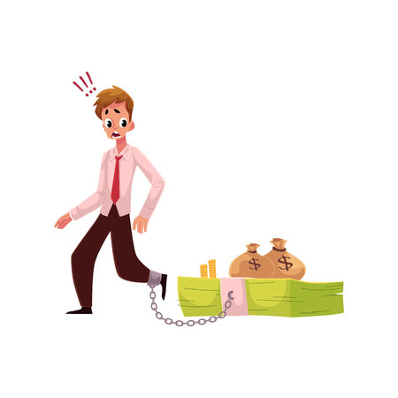 hunched: Young man with leg chained to bundle of banknotes, money dependence concept, cartoon vector illustration isolated on white background. Man with foot chained to bundle of money, financial dependence
