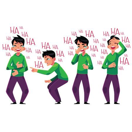 Jeune homme éclater de rire, penchée de rire, illustration de vecteur de dessin animé isolée sur fond blanc. Portrait de toute la longueur d'un jeune homme éclatant de rire ensemble, éclatant de rire aux larmes Banque d'images - 79737819