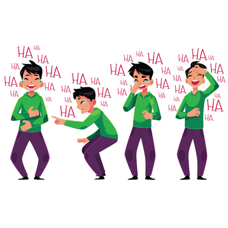 Young man laughing out loud, bent over with laughter, cartoon vector illustration isolated on white background. Full length portrait of young man bursting with laughter set, laughing to tears