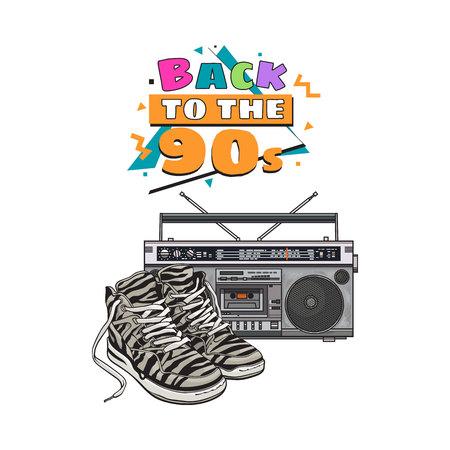 Paar gestreepte sneakers en audio-taperecorder, boom box uit de jaren 90, retro pictogrammen, schets vectorillustratie geïsoleerd op een witte achtergrond. Retro-stijl sneakers en taperecorder uit de jaren negentig Stock Illustratie
